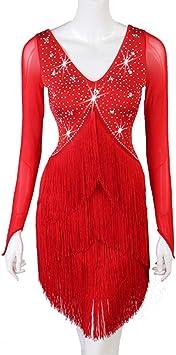 Vestidos de Baile Latino para Mujer Falda con Flecos Manga de ...