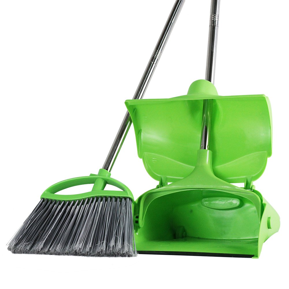 GLOYY Broom and Dustpan set Standing Upright Sweep Set for Home Office Commercial Hardwood Floor Use Out Door Garden Lobby, Green (Broom and Dustpan Set, 1-Pack)