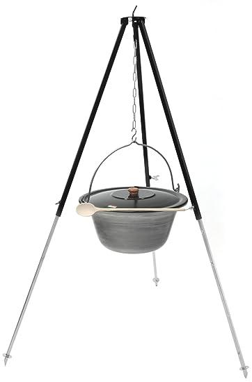 Grillplanet® Gulaschkessel mit Dreibein 1,3 m (Set 10 l Eisen Kessel ...