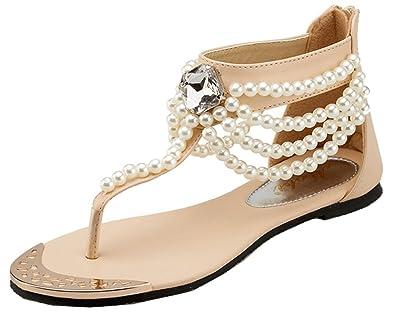 Women's Boho Pearls Rhinestone Thong Sandals With Back Zipper