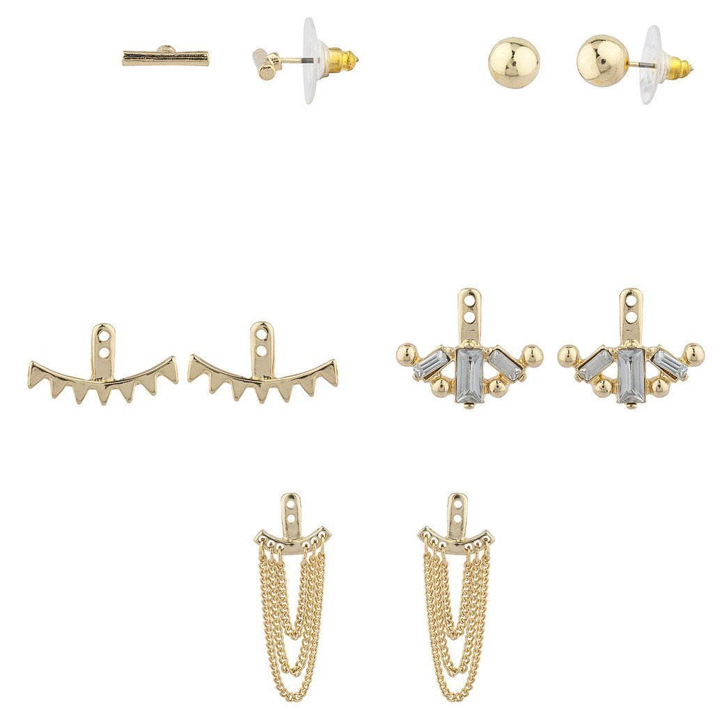 Lux Accessories Goldtone Geo Miss Match Ear Jacket Multi Earring Set 5PC M231261-1-E852