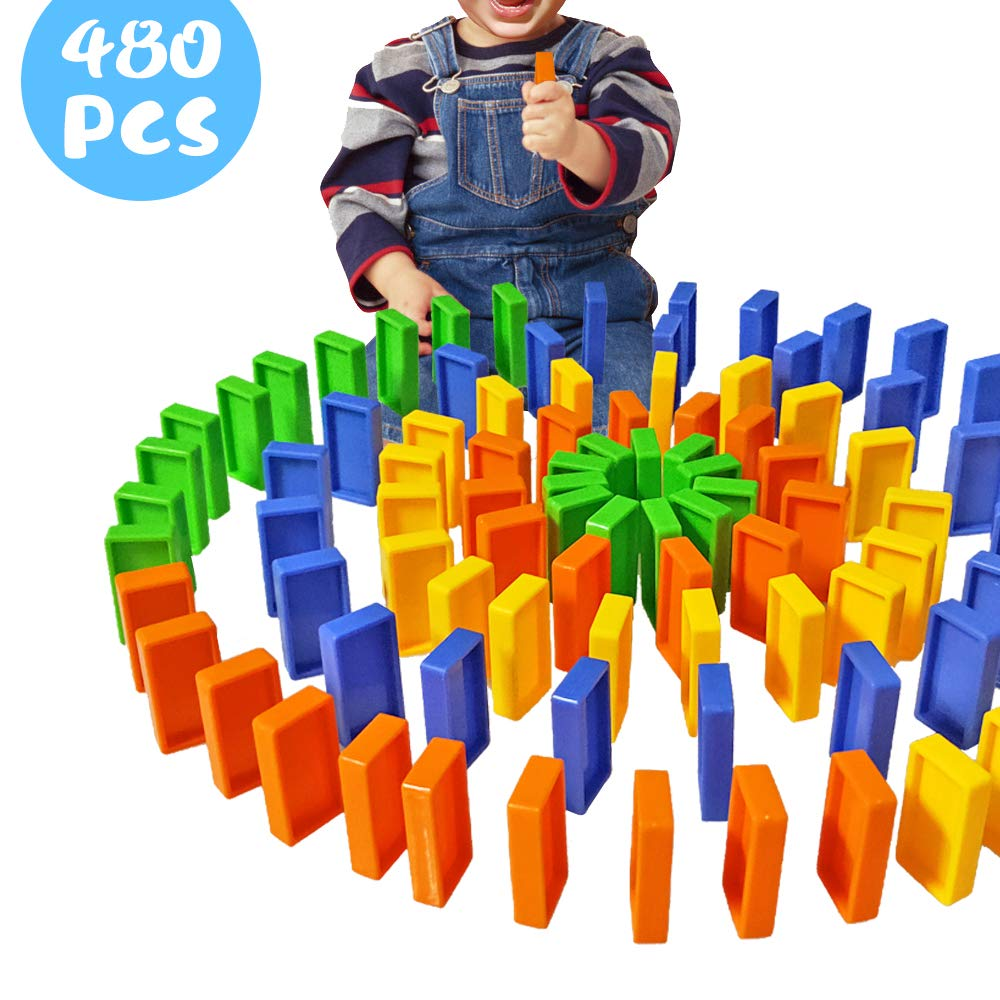 Domino Blocks Set, Domino Train Blocks Refill Pack,480 PCS Colorful Plastic Safe Domino Blocks, Building and Stacking Toy Blocks Domino Set for 3-7 Year Old Toys, Boys Girls Creative Gifts for Kids