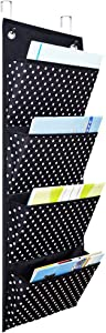 Kruideey Premium Fabric Office Supplies Storage Organizer, Hanging Storage Pockets for Home, Business, Clothing, and School Organizers (4 Big Pockets&2 Hangers)