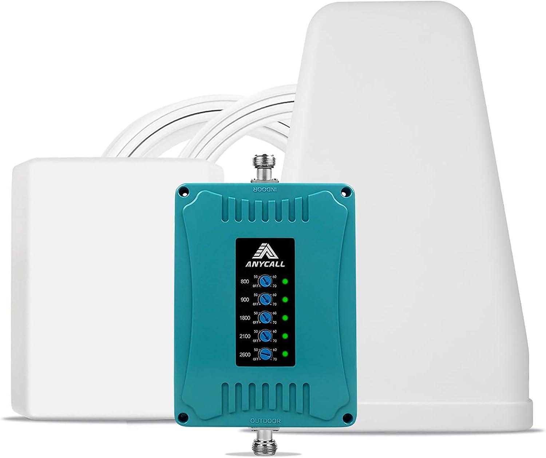 ANYCALL 5-Banda Amplificador Cobertura Movil Mejorar la Red y Llamar GSM/3G/4G LTE 800/900/1800/2100/2600MHz Repetidor Señal Móvil para ...
