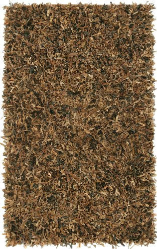 Leather Shag Rug - Brown Leather Shag 30