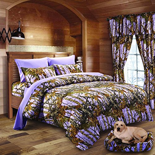 Woodland Comforter Set - 20 Lakes Woodland Hunter Camo Comforter, Sheet, & Pillowcase Set (Queen, Lavender)
