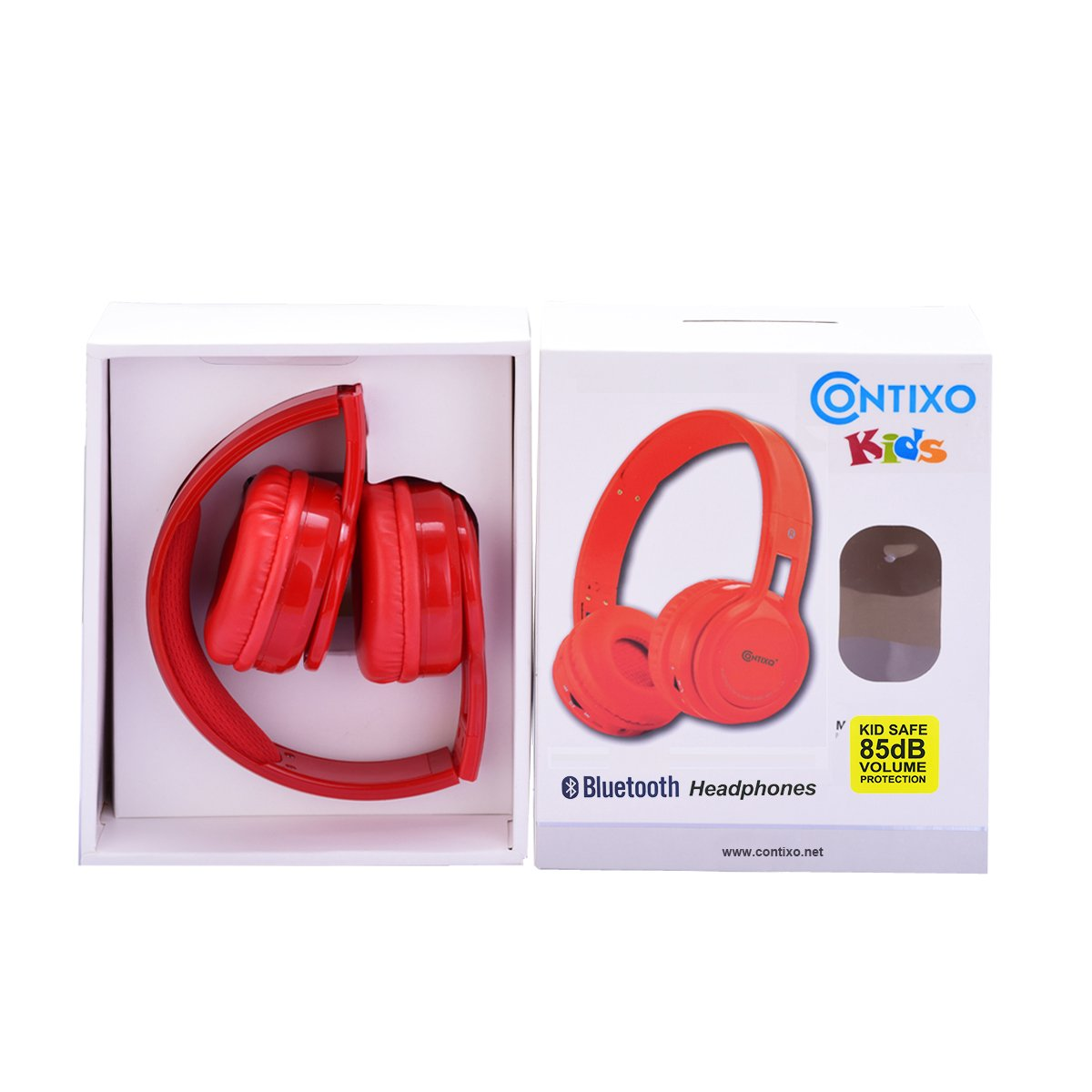Amazon.com: Contixo KB2600 Kid Safe 85db Foldable Wireless Bluetooth Headphone Built-in Microphone, Micro SD Card Music Player, FM Stereo Radio (Red) - Best ...