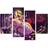 eCraftIndia Set of 4 Radha Krishna Canvas Painting