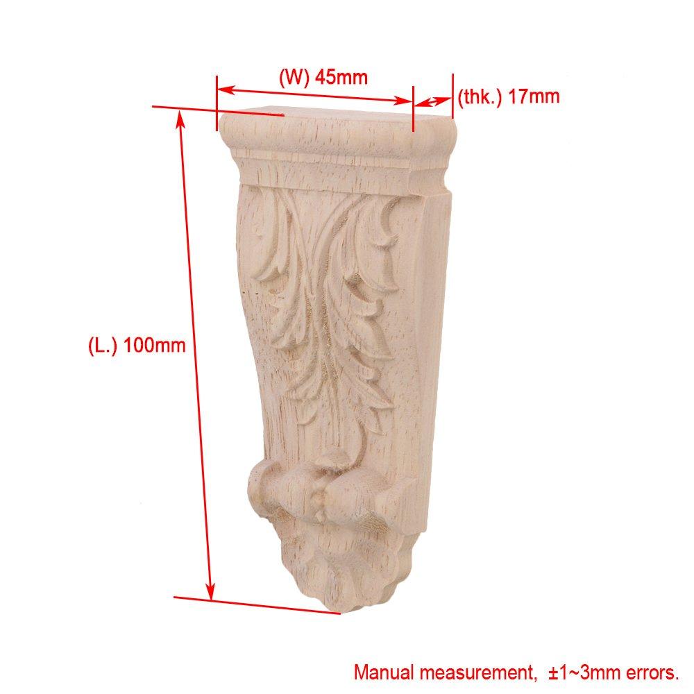 BQLZR 10x4.5x1.7 cm estilo europeo sin pintar muebles de madera tallada Onlay Craft para el hogar restaurante decoraci/¨n de la puerta paquete de 4