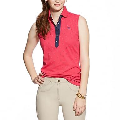 6a2a7356739aa Ariat Womens Paige Sleeveless Polo Shirt - Pink Clash Dot  Large  Amazon.co.uk   Clothing