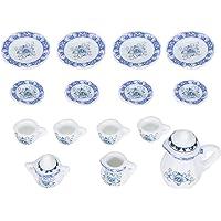 Miniatuur theeservies, 15 stuks 1:12 poppenhuis mini porseleinen bloem theekopjes set poppenhuis miniatuur theepot set…