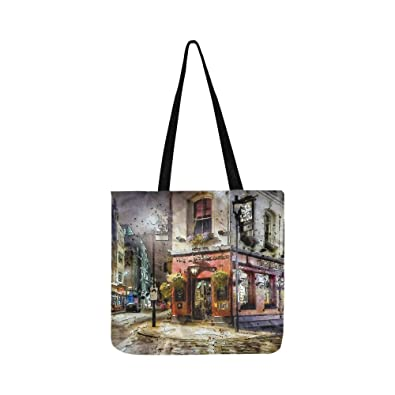 0ca54f4eee4b Amazon.com: Street Night Modern Structure Alley Travel Canvas Tote ...