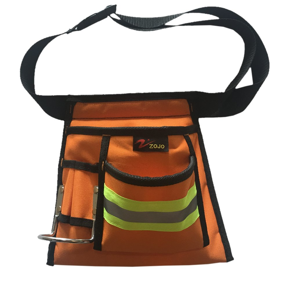 Reflective Electrical Maintenance Tool Bag Technician's Tool Holder Work Organizer for Roofers Maintenance Workers Construction Workers Plumbers Fits the Waist to 44 inch (Single, Orange)