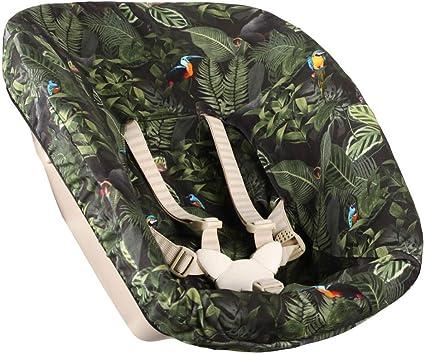 Coussin pour Chaise Haute Enfant Stokke Tripp Trapp /♥ R/éducteur de Si/ège /♥ Housse Rehausseur Coton Oeko-Tex /♥ Pratique et Facile /à Nettoyer /♥ Vert /♥ Jungle