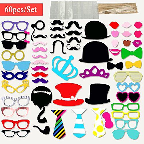 [Cxy Photo Booth Props 60pcs DIY Kit (Larger Size) for Wedding Reunions Birthday Party Photobooth On a Stick Dress-up Costumes Accessories & Party Favors with Mustache Hats Glasses Lips Bowler] (Homemade Halloween Decorations Made From Paper)