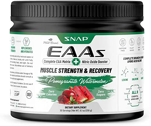 EAAs Essential Amino Acids by Snap Supplements BCAA Powder Pomegranate Watermelon Explosion Muscle Strength Recovery Workout Drink for Men Women – 30 Servings