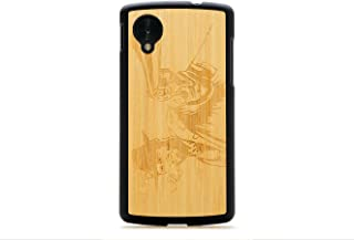product image for CARVED Matte Black Natural Bamboo Wood Case for Google Nexus 5 - Wild West (N5-BC1A-E-WWST)