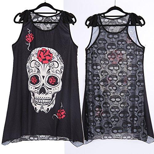 Gamiss Blusa Transparente Mujeres Sin Manga Impresión de Cráneo Atractiva Encaje Verano Camiseta Camisa Tapas Negro A