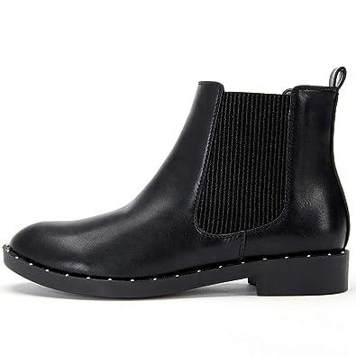 478f173c65d48 ANJOUFEMME Chaussure Bottines Chelsea en Cuir Femmes - Ankle Boots Femme avec  Talon Plat Bloc Bas