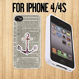 Colorful Flower Anchor Custom made Case/Cover/skin FOR Apple iPhone 4/4S - White - Rubber Case ( Ship From CA)