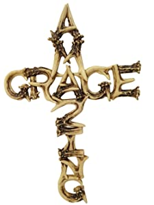 "Pine Ridge Amazing Grace Antler Christian Wall Cross Home Decor Catholic Crafted Polyresin Art Cross Gift Ideas, 16"""