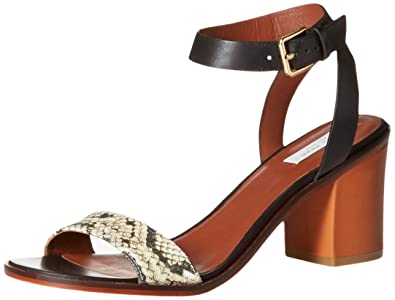 Cole Haan Women's Cambon Mid Dress Sandal, Black Leather/Roccia Snake  Canvas/Acorn