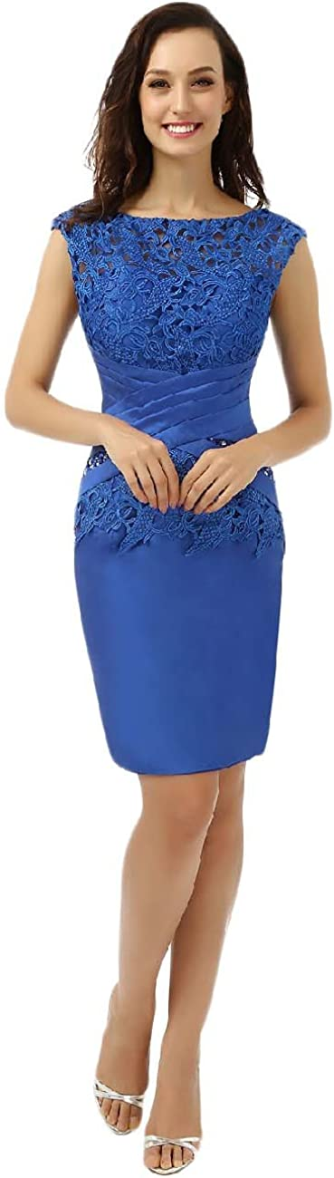 OYISHA Womens Sheath Satin Knee Length Mother of The Bride Cocktail Dresses MD02