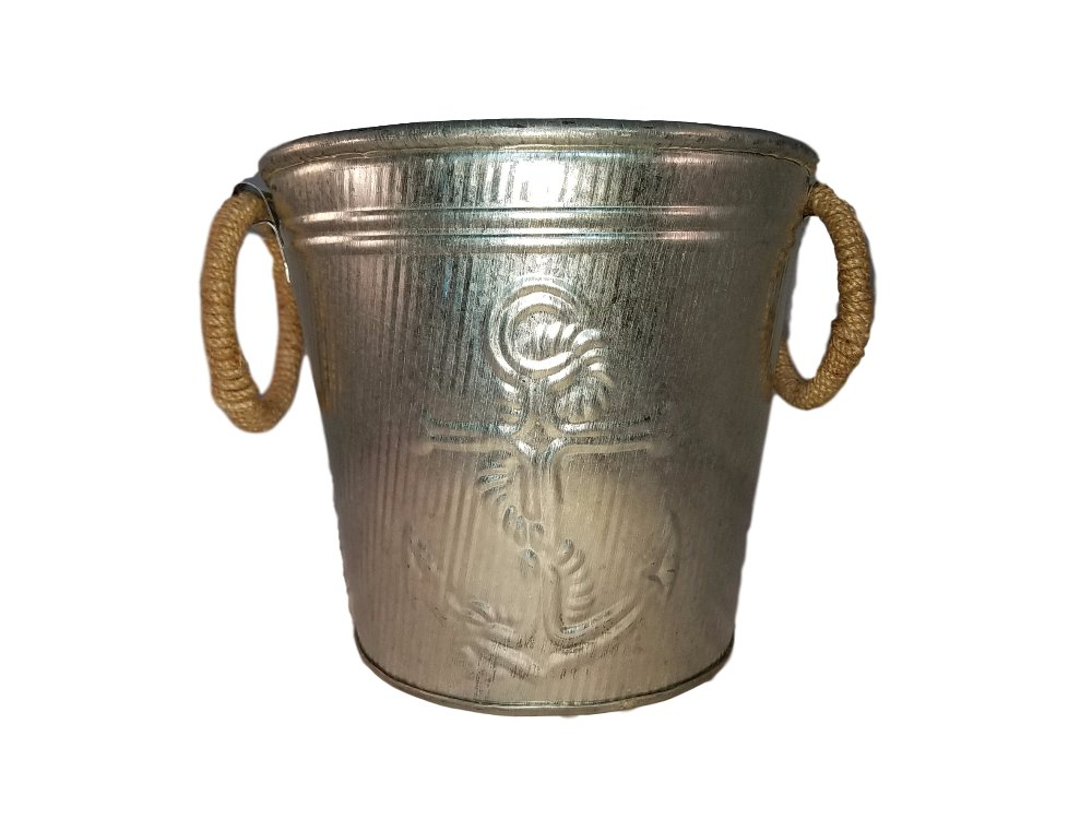 Galvanized Metal Ice Bucket for Drinks or Planter Pail with Rope Handles by KINDWER (Image #3)