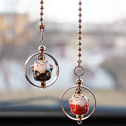 HerMia Lucky Cat Car Pendant Chinese Ceramic Car Hanging Ornament Car Interior D/écor