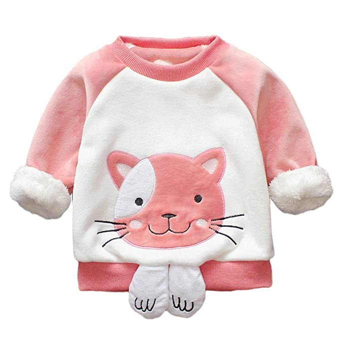 Todder Kids Baby Girls Winter Cartoon Cotton Warm Tops Ruffles T Shirt Clothes