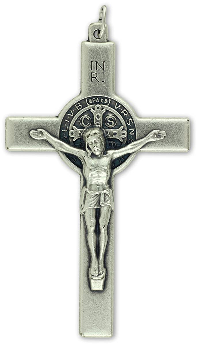 """XL St Benedict Crucifix - Straight Edge - 3"""" Made in Italy Gifts Catholic CX2699"""