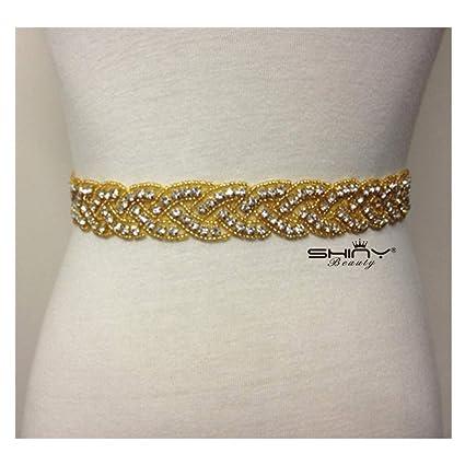 a5ae673a74 ShiDianYi Crystal and Rhinestone Beaded Applique Bridal Belt Wedding Sash  Applique (Gold-200)
