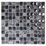 Black 1x1 Mosaic Glass Tile - Cracked Glass Tile and Grey Stone Backsplash, Floor Tile, Shower Tile - Electra GMC 4 (5 Sheets)
