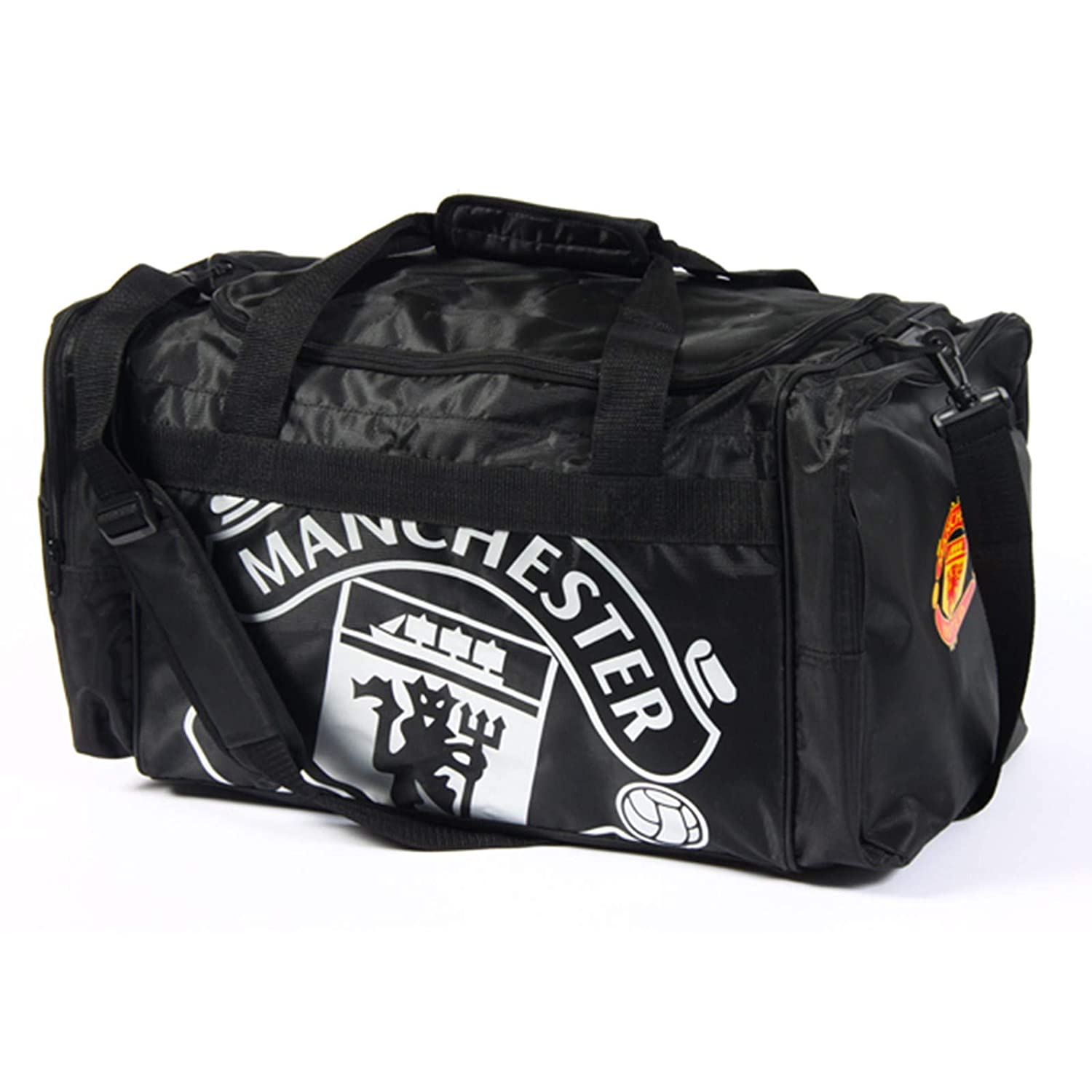 Manchester United Football Club Black And Chrome Official Holdall Gym Bag Team Crest Badge