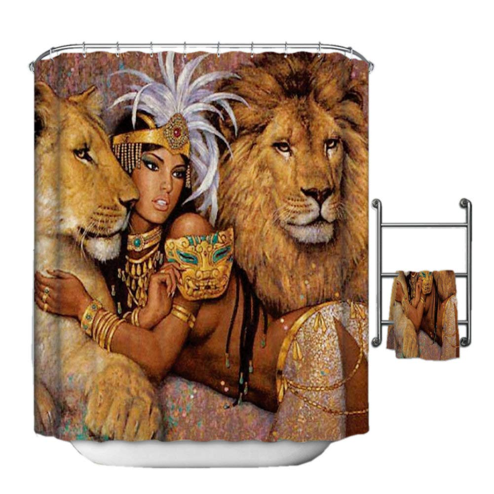 Fangkun Shower Curtain African Woman and Lions Beautiful Woman 3D Printing Bath Curtains - Polyester Fabric Bathroom Decor Set - 12PCS Shower Hooks (YL159#, 72 x 72 inches)