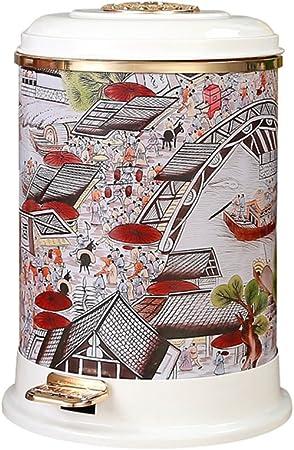 LITINGMEI - Papelera con pedal para residuos de hogar chino, caja decorativa de alta calidad (mapa de Qingming Shanghe) 9 l: Amazon.es: Hogar