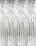 Metallic Gold Silver Foil Fringe Curtain Shiny Tinsel For Party, Birthday, Prom, Photo Booth, Special Event (3' x 8' ft) Curtains (3-Pack Silver)
