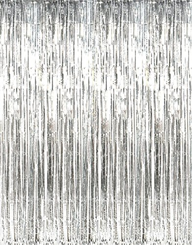 GOER 3.2 ft x 9.8 ft Metallic Tinsel Foil Fringe Curtains for Party Photo Backdrop Wedding Decor (Silver,1 Pack) -