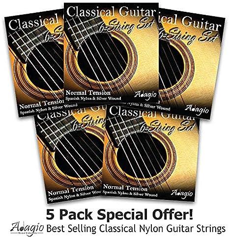 JUEGO DE 5 S! Adagio cuerdas para guitarra de nailon clásica ...