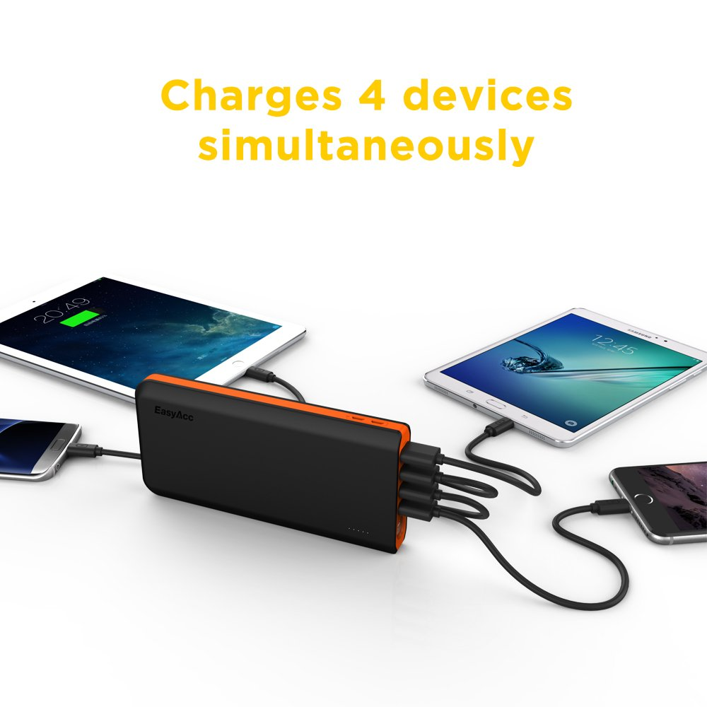 EasyAcc 20000mAh Portable Charger Fast Recharge Power Bank with 4A 2-Port Input 4.8A Smart Output High Capacity External Battery Pack for iPhone iPad Samsung Android - Black and Orange by EasyAcc (Image #2)