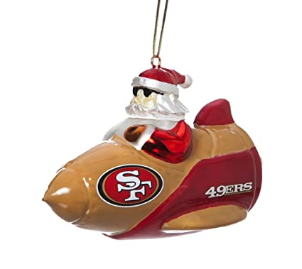 9fd93bba Team Sports America NFL San Francisco 49ers Glass Rocket Santa Christmas  Ornament, Small, Multicolored