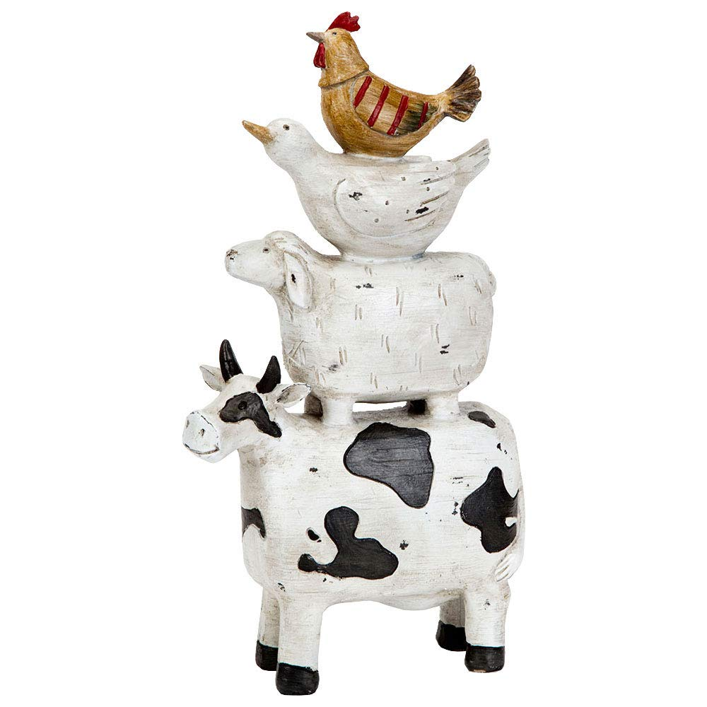 Bits and Pieces - Stacked Farmyard Animal Figurines - Polyresin Animal Sculpture - Farmhouse Home Décor Accent
