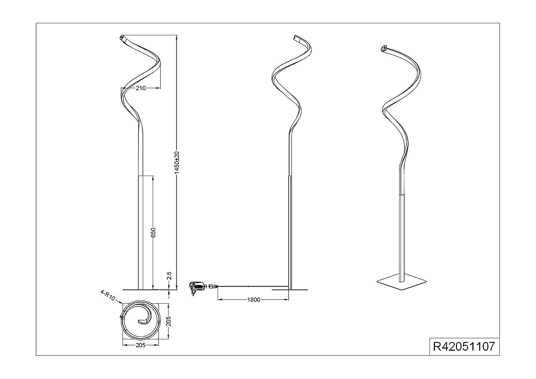 L/ámpara LED de pie metal y n/íquel mate, acr/ílico blanco, incluye 11 W, regulador de intensidad de sensor Reality Leuchten R42051107 Course