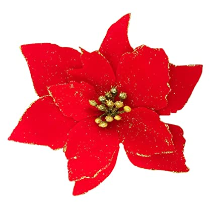 christmas glitter poinsettia christmas tree ornaments pack of 12 red
