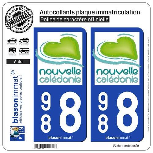 blasonimmat 2 Autocollants Plaque immatriculation Auto 988 Nouvelle-Calé donie - Tourisme