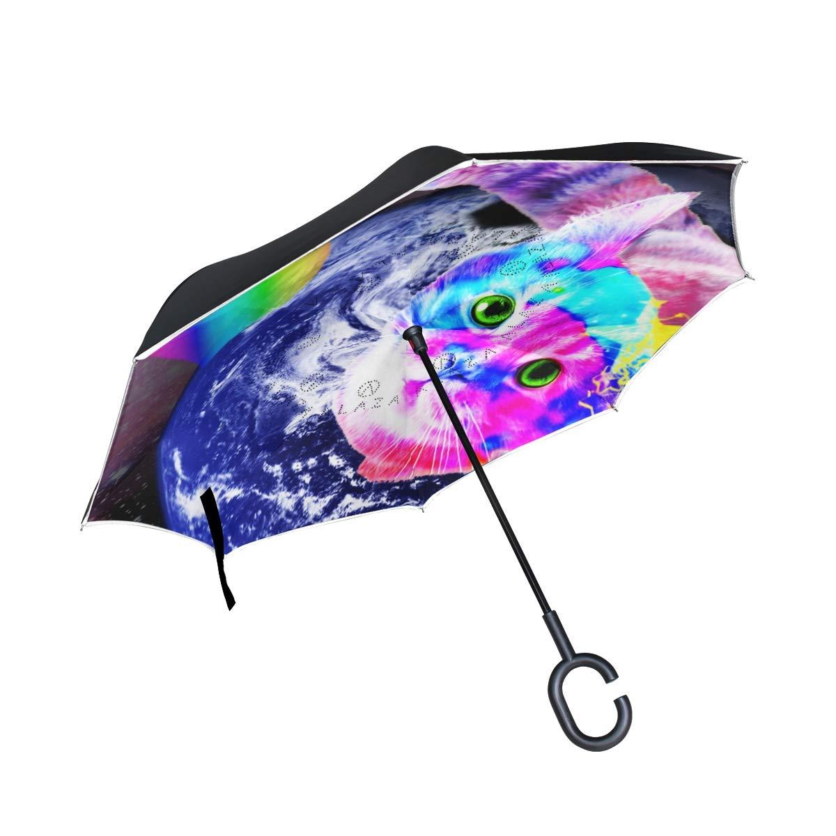 Ladninag 逆傘 かわいい フラミンゴ 反転傘 リバーシブル ゴルフ 車 旅行 雨 アウトドア ブラック One Size picture9 B07JYZQ712