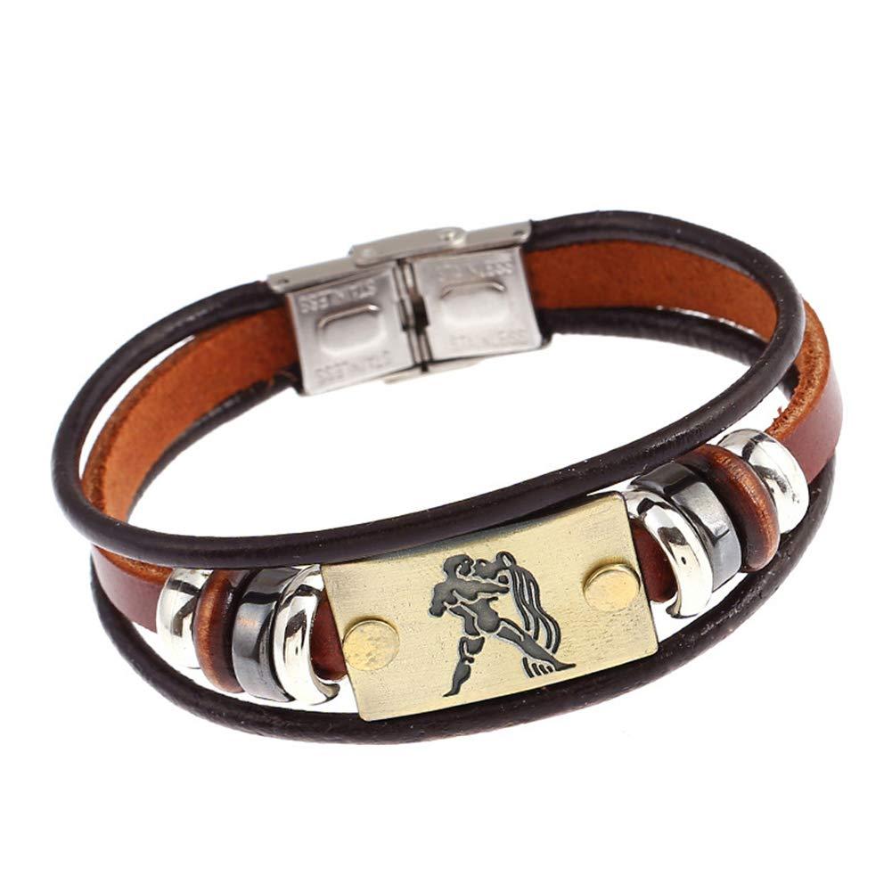 Wintefei Constellations Unisex Retro Wooden Beads Faux Leather Bracelet Bangle - Aquarius