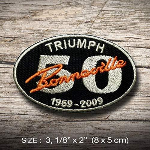 Triumph Bonneville Patch Iron on DIY Decorate Clothes Clothing Vest Jacket Coat Hat Cap Shirt Denim Jean Bag, Sports Motorcycle Cafe Racer