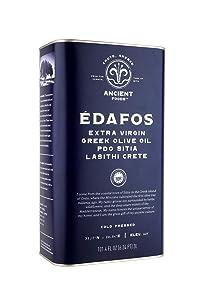 Ancient Foods - EDAFOS Greek Extra Virgin Olive Oil - Just Arrived New Harvest for 2021! - Family Estate - Crete PDO Cold Press - 101oz (3L)