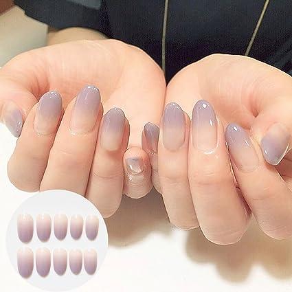 24 piezas de uñas postizas de color degradado de larga duración, accesorios para arte de